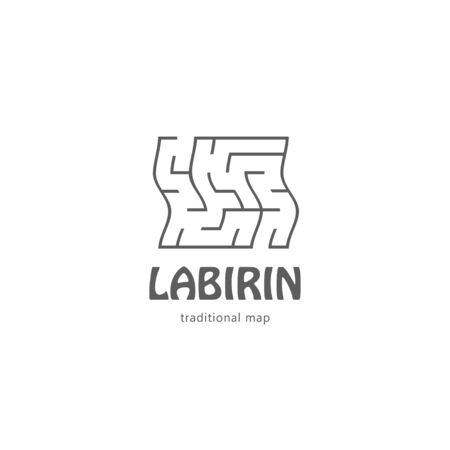 Square labyrinth map line unique logo icon sign. Vector illustration isolated on white background