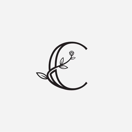 Letter C floral minimal abstract logo icon sign. Vector illustration isolated on white background Çizim