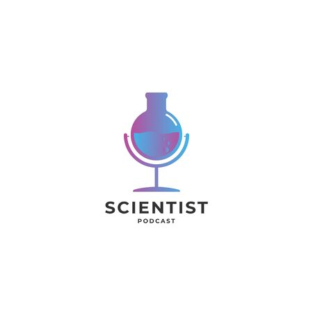 Science podcast logo icon sign. Unique podcast logo vector illustration isolated on white background