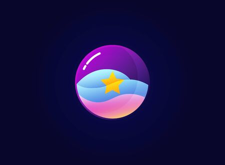 Beautiful glass ball with a star in it vector illustration logo icon symbol. Marbles logo design concept isolated on dark background Çizim