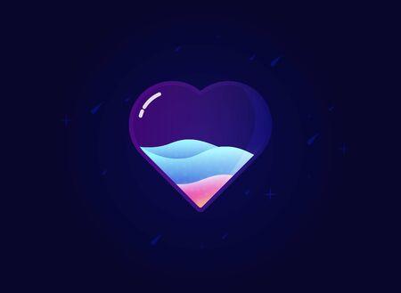 Modern love heart icon. Symbol for love. Vector illustration