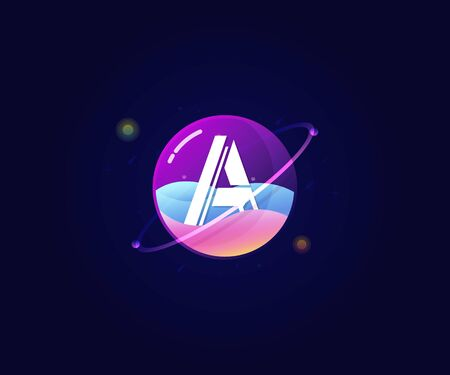 Letter A in glass planet modern cool logo icon sign. Vector illustration template Çizim