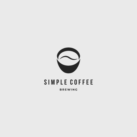 Coffe shop simple clean logo icon sign. Coffee beans in coffee cups vector illustration label template