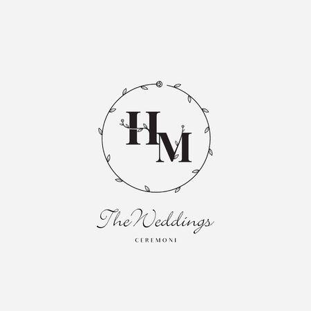 Letter HM elegant flower logo icon sign. Vector illustration Çizim
