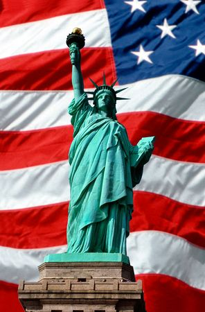 Statue of Liberty, American flag Stock Photo - 2528604