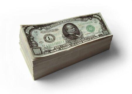 Stack of real $1000 Dollar Bills Stok Fotoğraf - 2558970