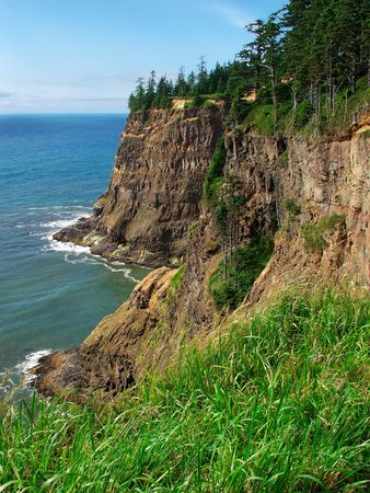 Rugged coastline, Cape Meares Scenic Viewpoint, Oregon Stok Fotoğraf
