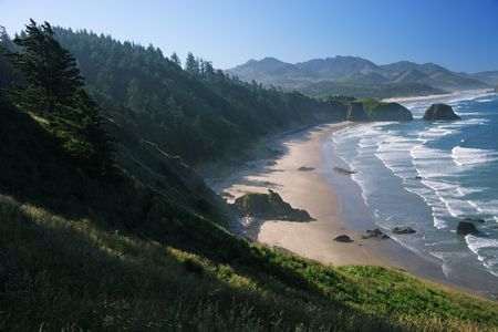 crescent: Crescent Beach at Ecola State Park, Oregon - early morning