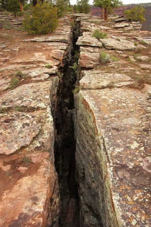 earthquake crack: Close up of a fault line or fracture in the earth - Flaming Gorge area - Utah Stock Photo