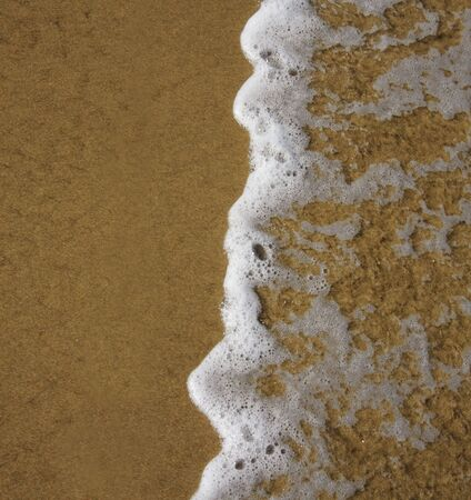 Close-up of a frothy ocean wave on a sandy beach