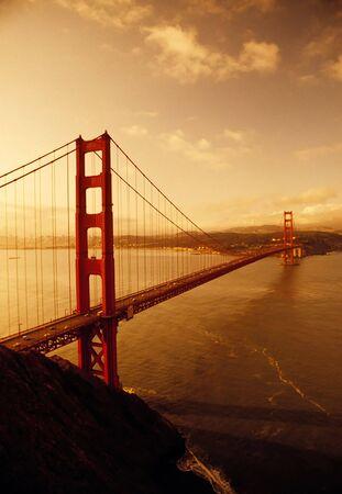 golden gate: Sunrise at Golden Gate Bridge, San Francisco, California Stock Photo