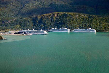 Cruise Ships Docking at Skagway, Alaska - aerial view photo