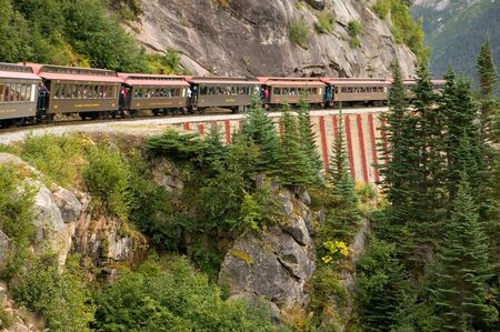 Scenic Railroad - Skagway, Alaska - White Pass and Yukon Route 版權商用圖片 - 3395569