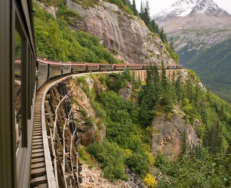 Scenic Railroad - Skagway, Alaska - White Pass and Yukon Route Stock Photo - 3395564