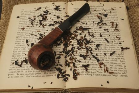 Briar bulldog pipe with tobacco on book