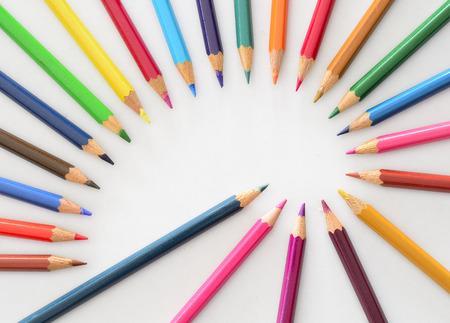 fibonacci: colored pencils arranged in fibonacci spiral shape