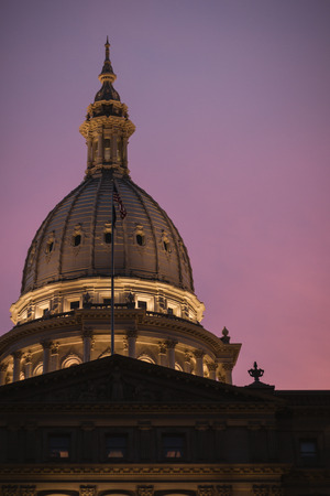 Lansing State Capitol Building Dome at Sunset