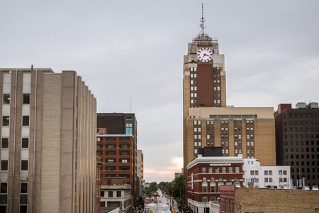 Lansing Michigan Cityscape, including the Boji Tower, on a rainy day