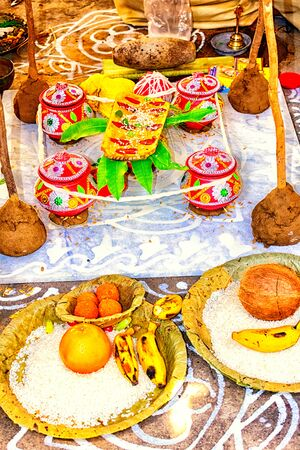 hindu bengali wedding stage along with decoration and necessary items