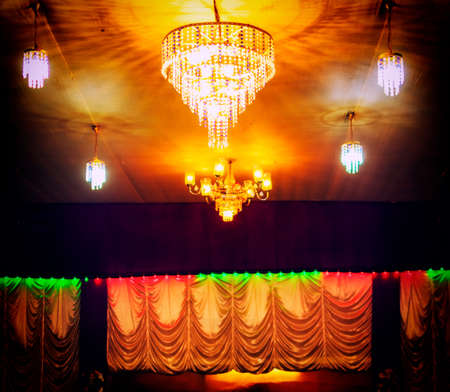 chandelier lighting with stage decoration