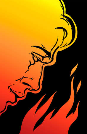 digital drawing in illustrator about anger management for a man; this is a symbolic picture of human nature and emotions.