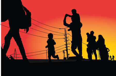 migrant workers returning home by road due to virus pandemic Ilustracje wektorowe