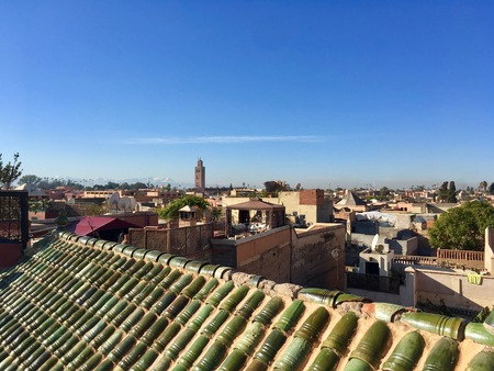 Marrakesh city center out from a roof top with blue sky