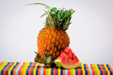 Pineapple and watermelon, Caribbean food, colour explosion