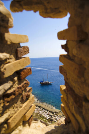 fortezza: window of a castle on the sea
