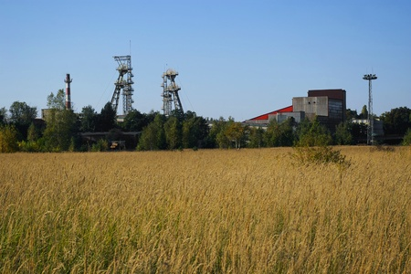 View of mine and field in sunny summer day - Silesia, Poland, Europe photo