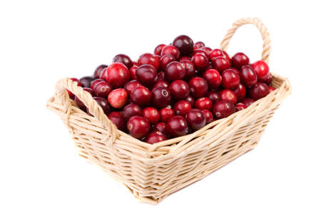 cranberry in the wicker basket made in studio isolated on white background Stock Photo - 11009831