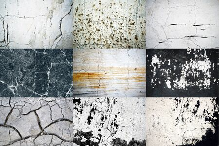 nine natural textures of dirty scratched wall background photo