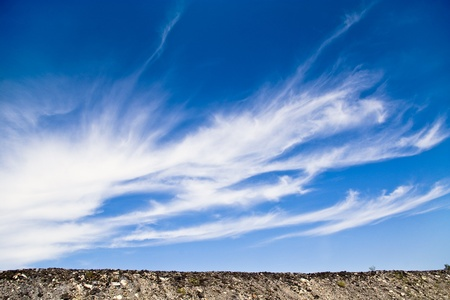 meterology: Sunny blue sky background whith clouds and ground  Stock Photo