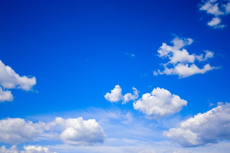 View of sunny sky background whith white clouds photo