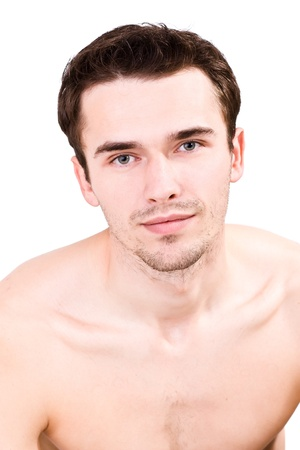 sensual massage: Portraiture of attractive man, young handsome male model- made in studio on white background, isolated on white Stock Photo