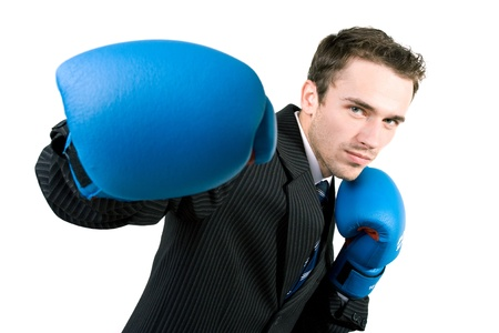 male boxer: Portrait of man, handsome male model in gloves boxing at work - studio shot on white background