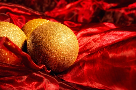 christmas balls on red background with emty space for text Stock Photo - 11425576