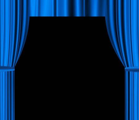 blue theatre drapered curtain with black empty space for text photo