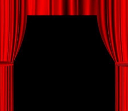 red theatre drapered curtain with black empty space for text