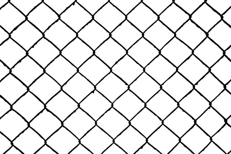 abstract seamless net pattern, wire grill isolated on white background photo