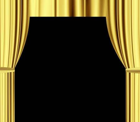 gold theater draperies curtain with black empty space for text  photo
