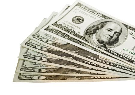 payola: US dollars, banknotes isolated on white background
