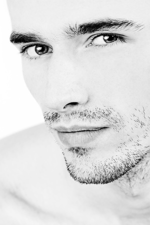 attractive man face, black and white portrait