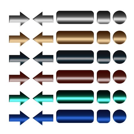 collection of metal buttons for computing and web design Stock Photo - 11956780