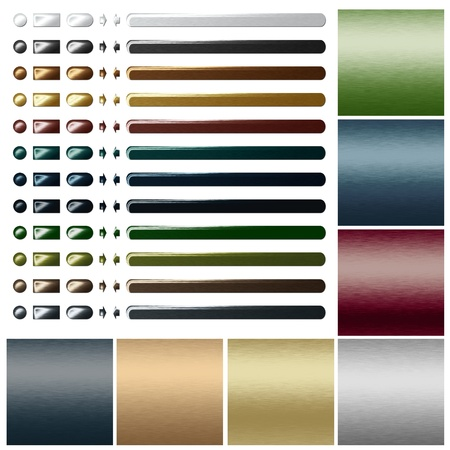 chrome button: set of metal buttons and textures for web design Stock Photo