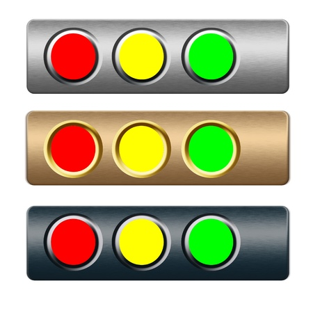red yellow green choice metal buttons for text and web design photo
