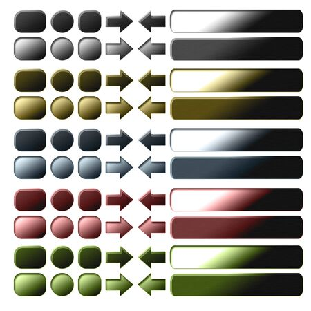 quadrant: collection of metal buttons for computing and web design Stock Photo