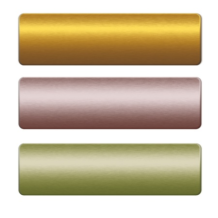 Textured metal boards or push buttons, gold, red and green background to insert text or design  Reklamní fotografie