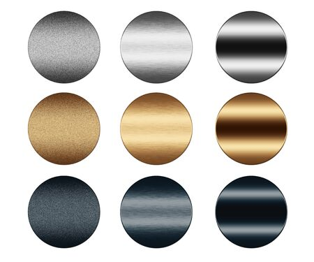 sandblasted: Scratched metal silver and gold round push buttons collection to insert text or web design Stock Photo
