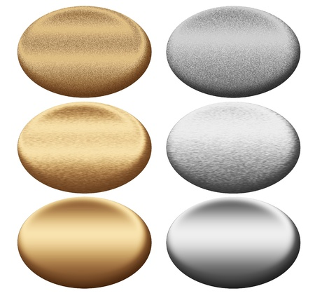 oxidized: Scratched metal silver and gold oval push buttons collection to insert text or web design Stock Photo